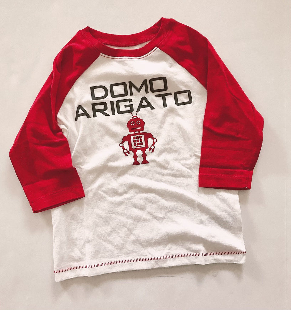Old Navy T shirt Domo Arigato red and white 3T-Fresh Kids Inc.