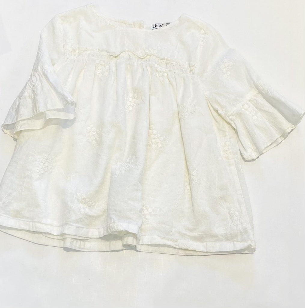 Dex white embroidered blouse size S (4-5)-Fresh Kids Inc.