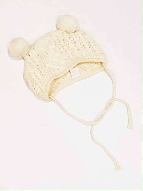Egg Baby knit cream hat 3-6m