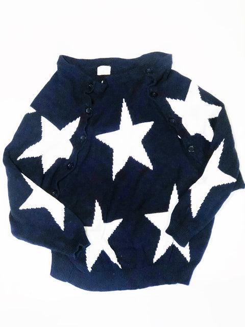 Fillyboo nursing sweater navy & white - small