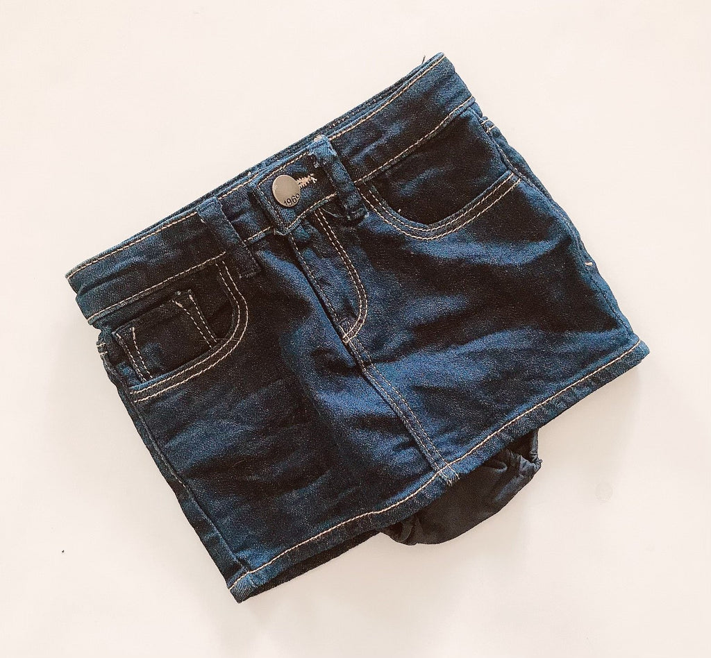 Gap 1969 denim skirt with pants 2 y-Fresh Kids Inc.