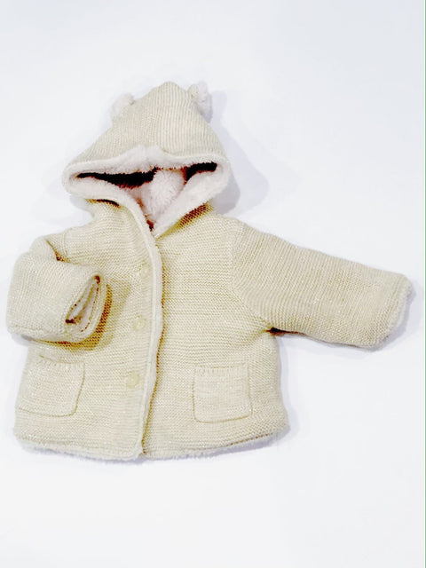 Gap cardigan cream/gold Sherpa lined 3-6m