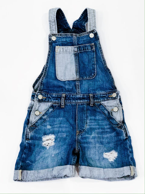 Gap denim overalls shorts distressed size M (8)