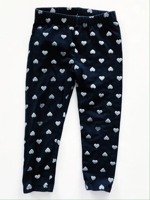 Gap leggings - navy & silver heart - size 3