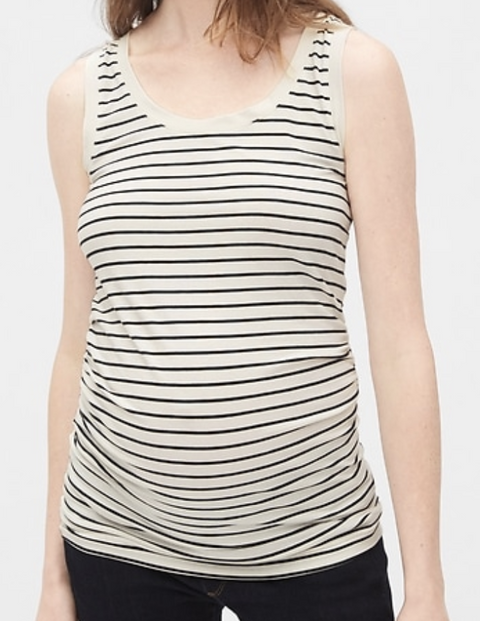 Gap Maternity tank -black & white striped - medium