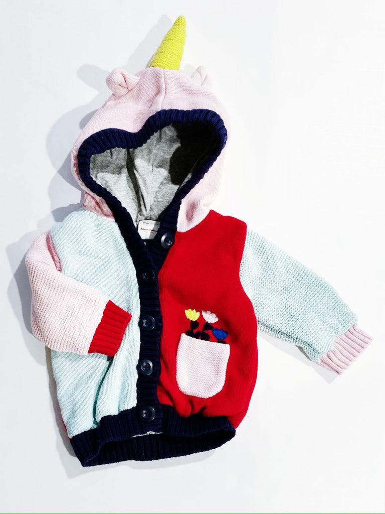 Hanna Andersson jersey-lined unicorn cardigan 6-12m-Fresh Kids Inc.