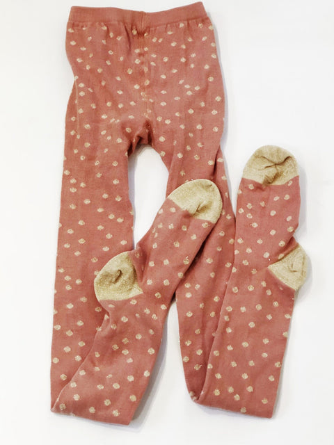 Hanna Andersson tights pink/metallic gold dot size EU 130/140 (US 6-8)