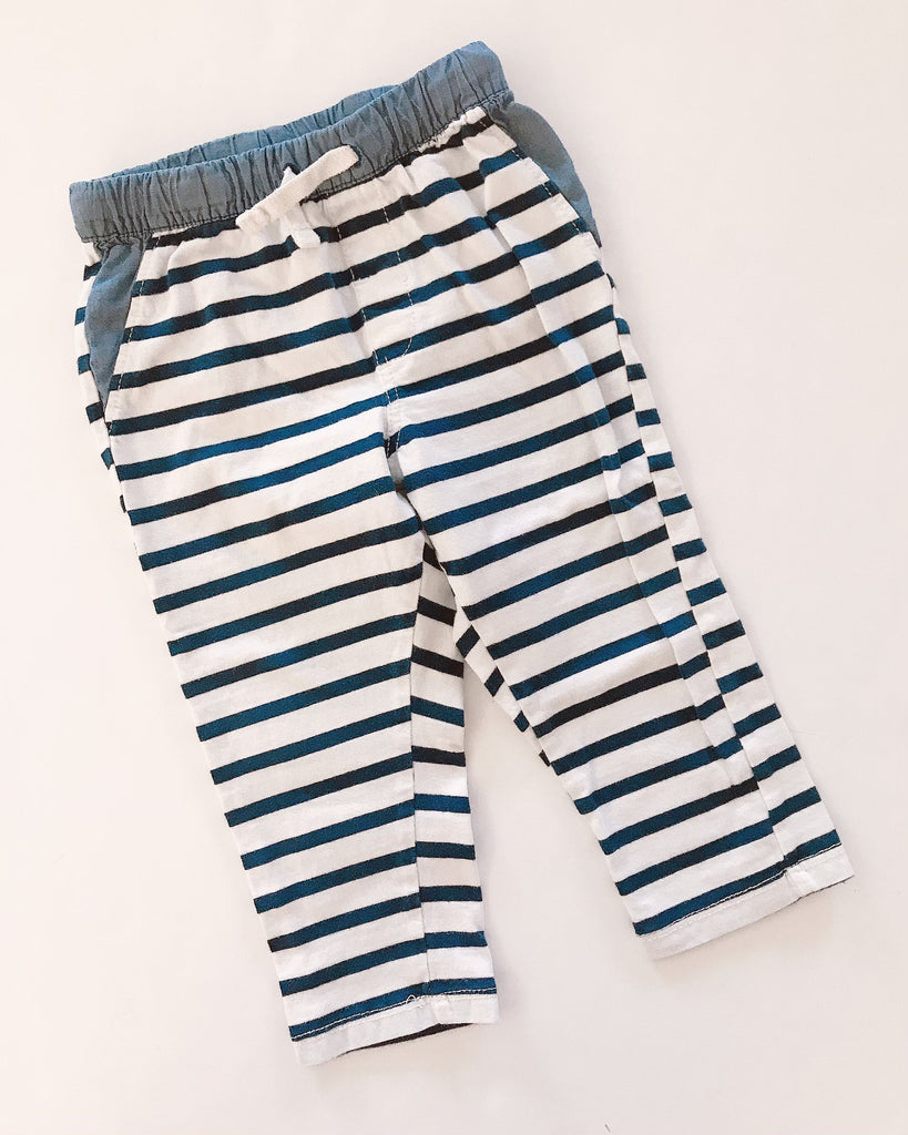 H&M bottoms navy white stripe 12-18m-Fresh Kids Inc.