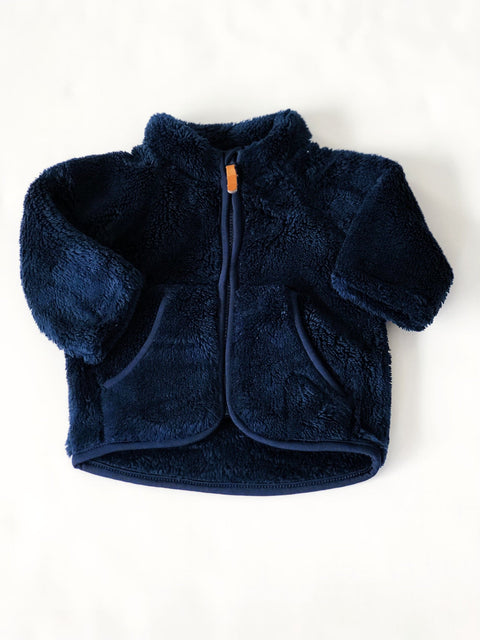 H&M top - navy - plush zip-up 1-2m-Fresh Kids Inc.