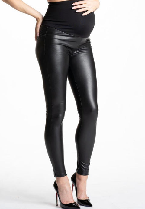 Preggo faux leather leggings size M-L