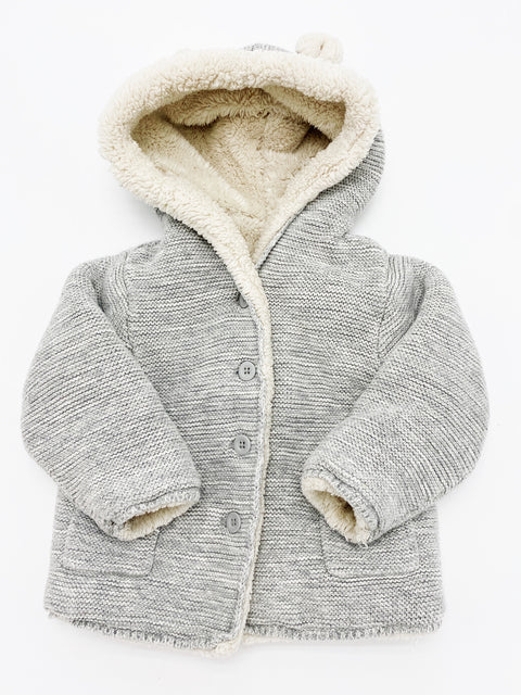 Gap hooded plush lined bear cardigan 18-24m
