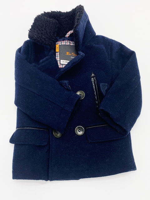 Ben Sherman navy sherpa lined wool coat 12m