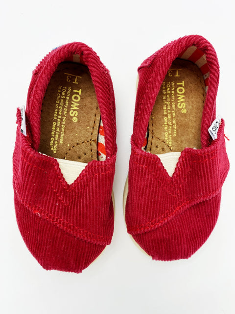 TOMS red corduroy size T3 BRAND NEW