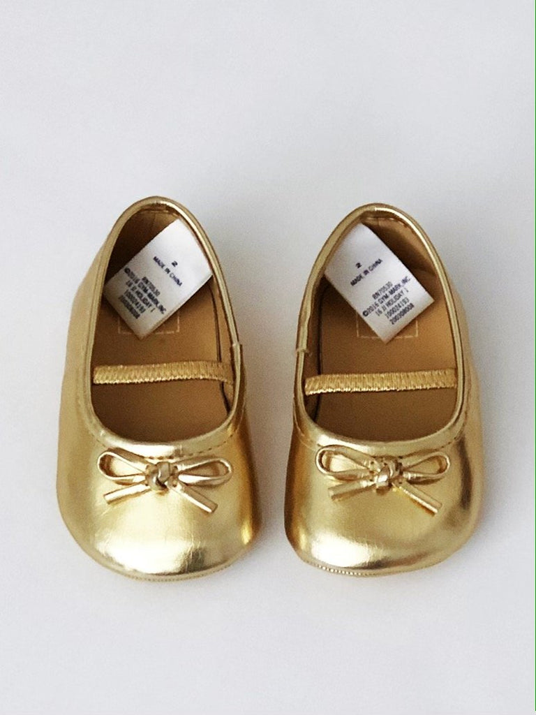 Janie and Jack gold ballet flats size 2 (3-6m)-Fresh Kids Inc.