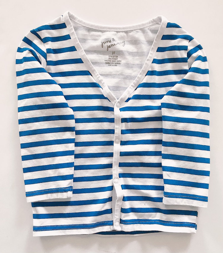 june & january top blue and white stripe 3T y-Fresh Kids Inc.