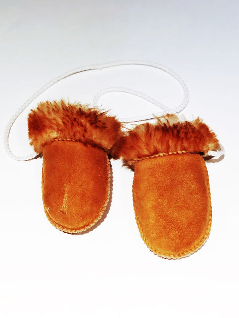 Leather & fur mittens - infant-Fresh Kids Inc.