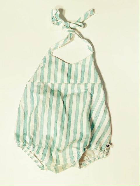 Little & Lively romper blue/white striped 1-2T
