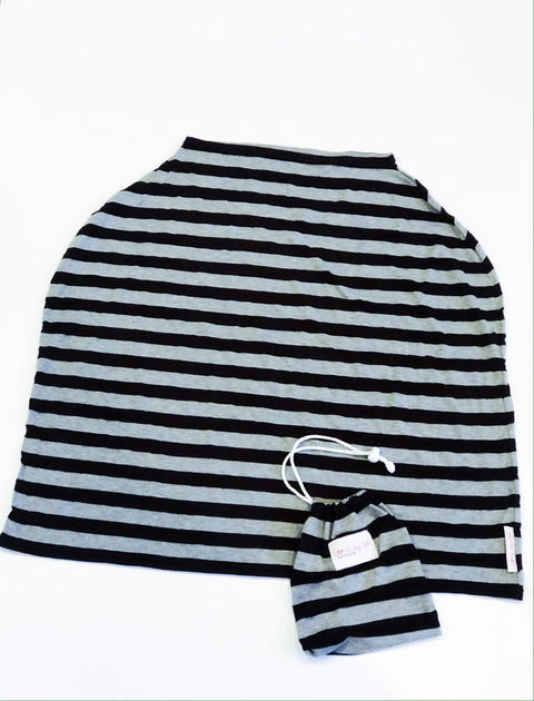 Love my Life nursing /car seat cover black/grey stripe