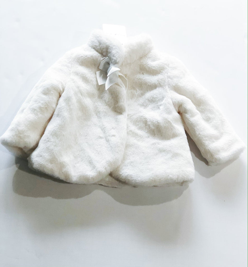 Mayoral faux fur white coat 6-9m BRAND NEW-Fresh Kids Inc.