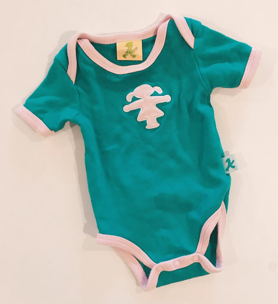 Mini ampelmann Onesie turquoise with pink trim 1-2 m-Fresh Kids Inc.