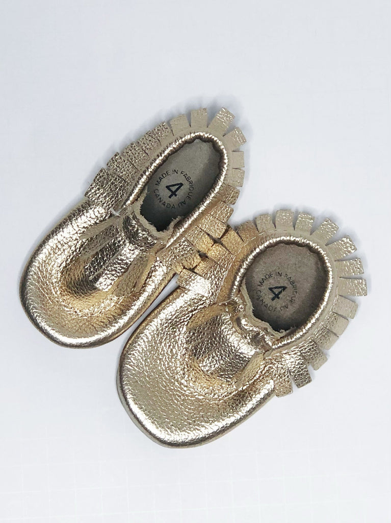 Minimoc gold size 4 (12-18m)-Fresh Kids Inc.