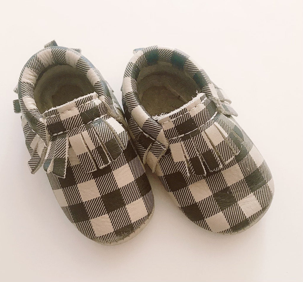 Minimocs grey plaid toddler size 2-Fresh Kids Inc.