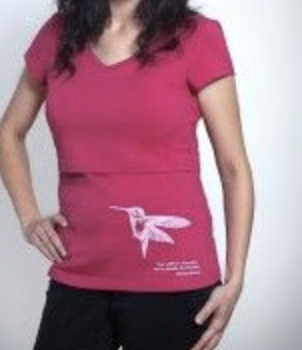 Momzelle nursing top hummingbird print in burnt red/orange - small