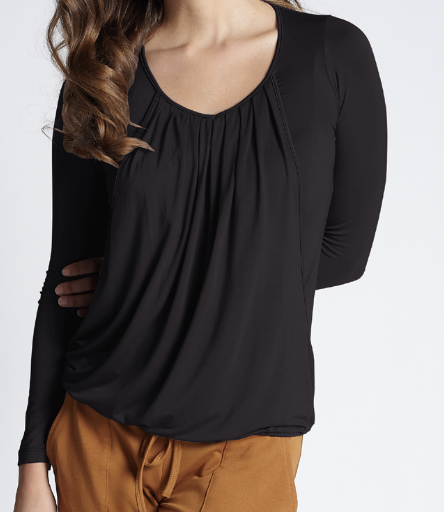 "Mothers En Vogue ""slouchy drapey"" nursing top black - small"