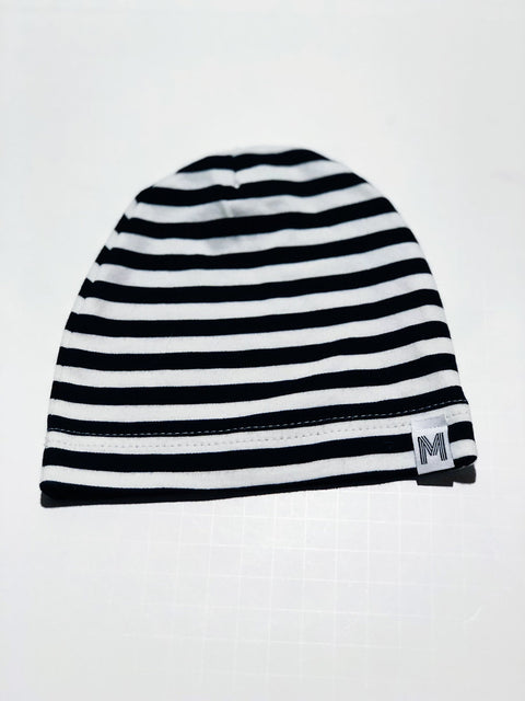 My Mila beanie - black & white stripe - 0-3m