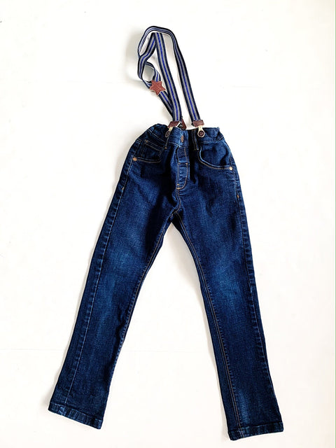 Next jeans size 4-5 with suspenders-Fresh Kids Inc.