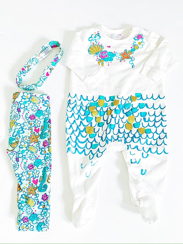 Next UK sleeper, bottoms & headband 6-9m-Fresh Kids Inc.