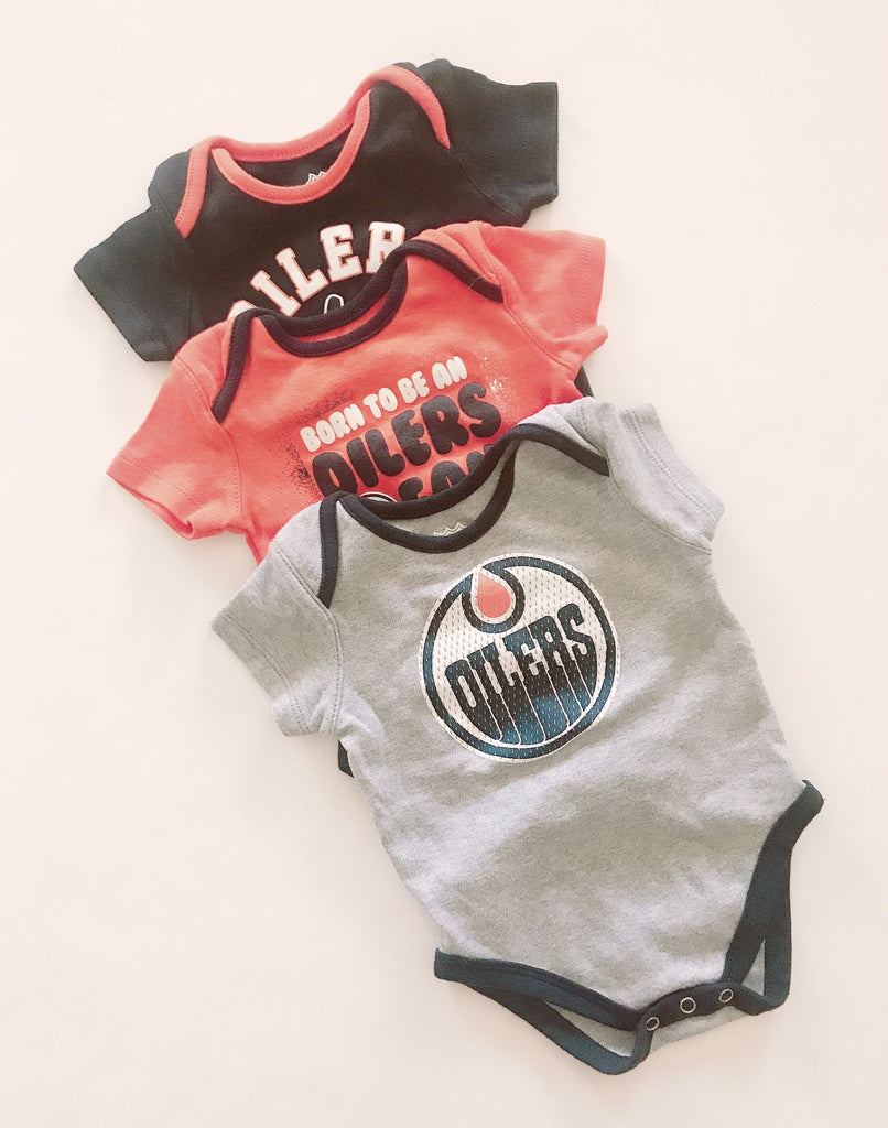 NHL onesies Oilers (set of 3) 3-6m-Fresh Kids Inc.