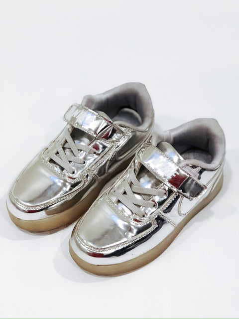 Nike shoes silver youth size 3.5-Fresh Kids Inc.
