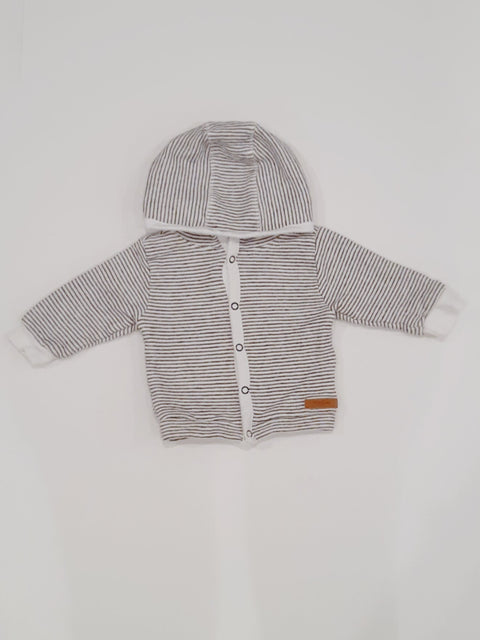 Noppies top - snap-up grey & white - 0-3m