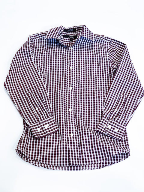 Nordstrom Kids button-up brown check size 8
