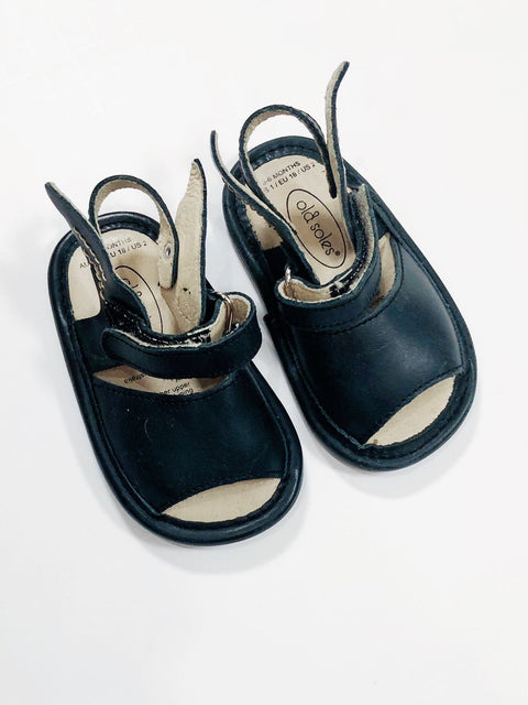 Old Soles sandals black leather size 3-6 months (US 2)-Fresh Kids Inc.