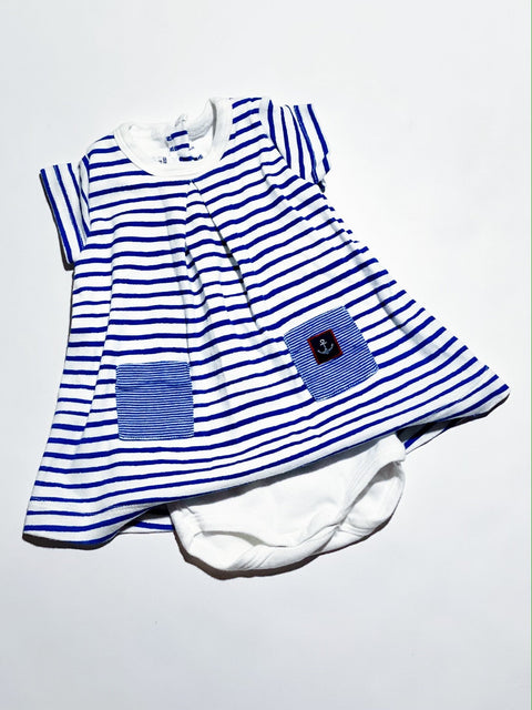 Petit Bateau dress/romper blue/white stripe 3m