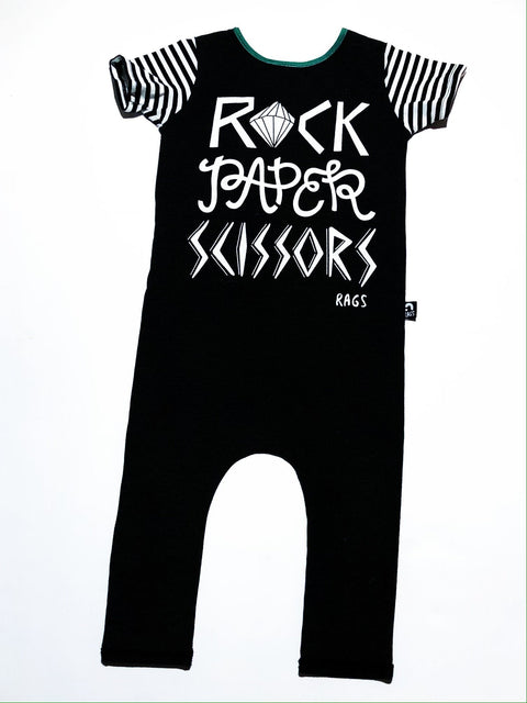 "Rags romper ""Rock Paper Scissors"" dark grey size 2"