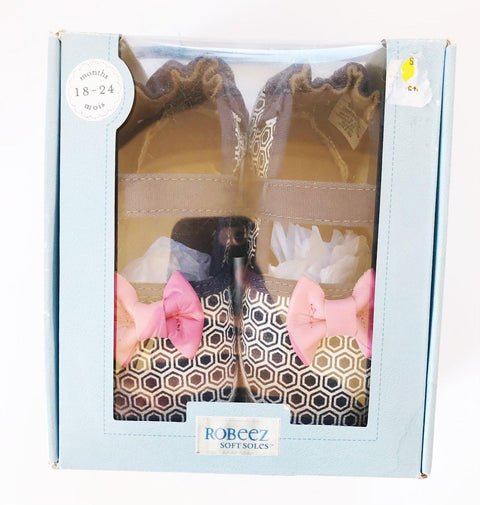 Robeez pink bow Mary Janes sz 18-24m