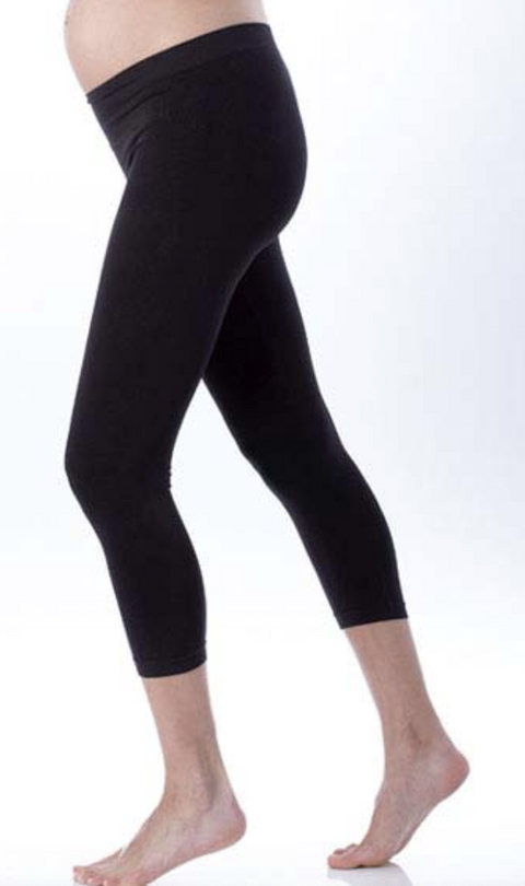 Seraphine black cropped maternity leggings - small/medium-Fresh Kids Inc.