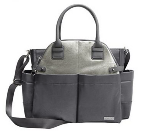 "Skip Hop ""Chelsea"" Downtown Chic Diaper Satchel in Charcoal Shimmer"