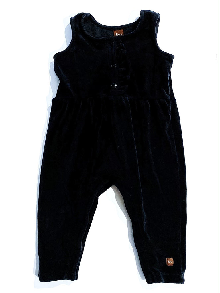 Tea velvet black ruffle romper 9-12m-Fresh Kids Inc.