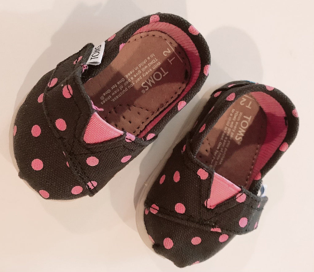 Toms pink polka dot slip ons Toddler 2-Fresh Kids Inc.