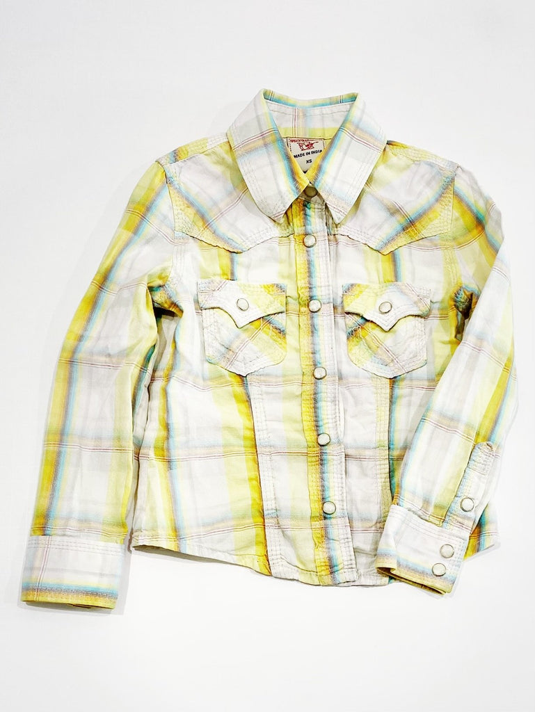 True Religion button-up top size xs (4-5)-Fresh Kids Inc.