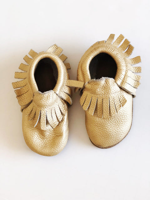 Wylo & Co gold moccs size 4-Fresh Kids Inc.