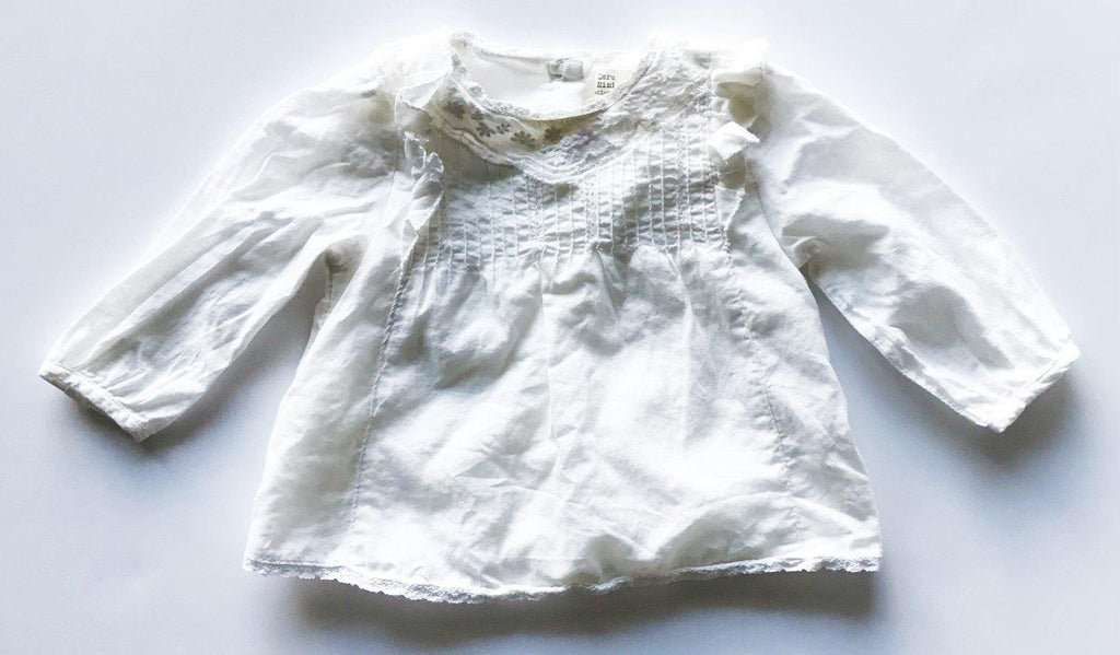 Zara mini white top sz 3-6m