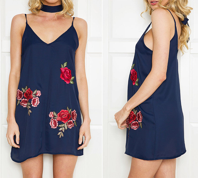 Rose Embroidered Tank Dress - Dresses - weartogiv - weartogive - wear to give - Philanthropy meets fashion with weartogiv.org. Philanthropy never looked so good! - Wear to giv - Where to give