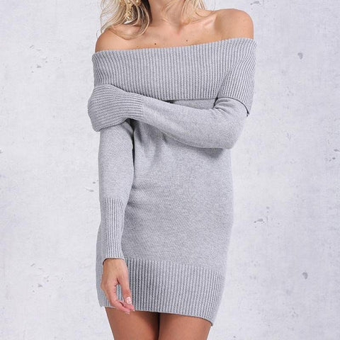 Off Shoulder Knit Dress - Dresses - weartogiv - weartogive - wear to give - Philanthropy meets fashion with weartogiv.org. Philanthropy never looked so good! - Wear to giv - Where to give