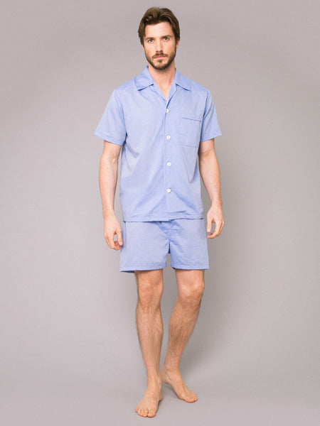 Derek Rose Shortie Pyjama Set in Amalfi Blue
