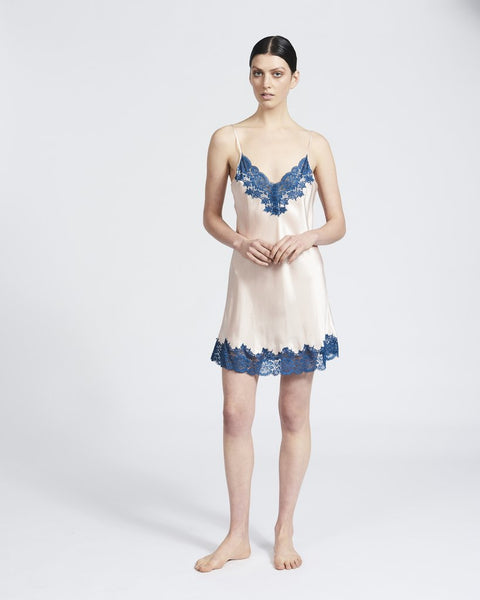 Ginia Silk Chemise with Lace Pink/Teal